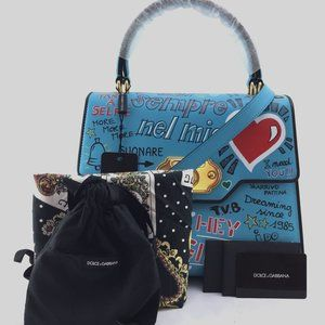 Preowned Dolce&Gabbana Top Handle Blue Satchel